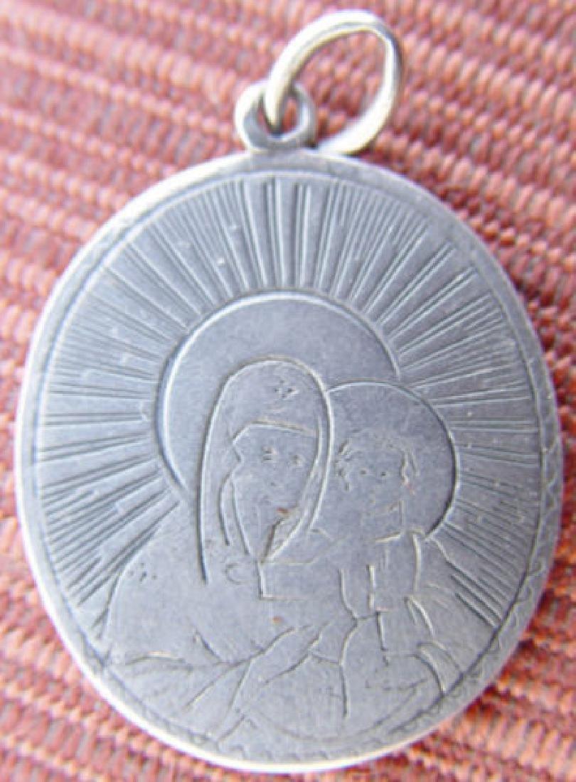 Russian Silver Pendant Icon of Virgin, 1850s