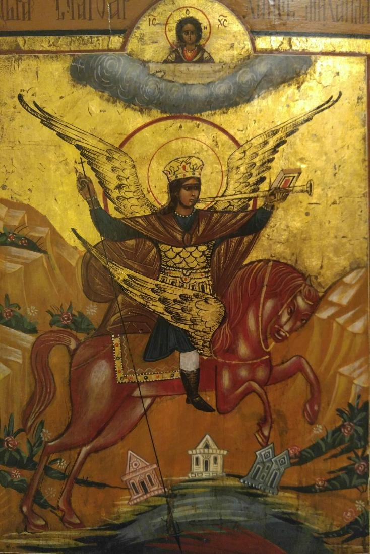 Large St Michael on Gold Russian Icon, 19th C - 2