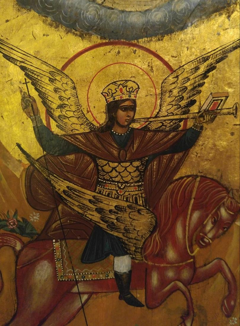 Large St Michael on Gold Russian Icon, 19th C - 3