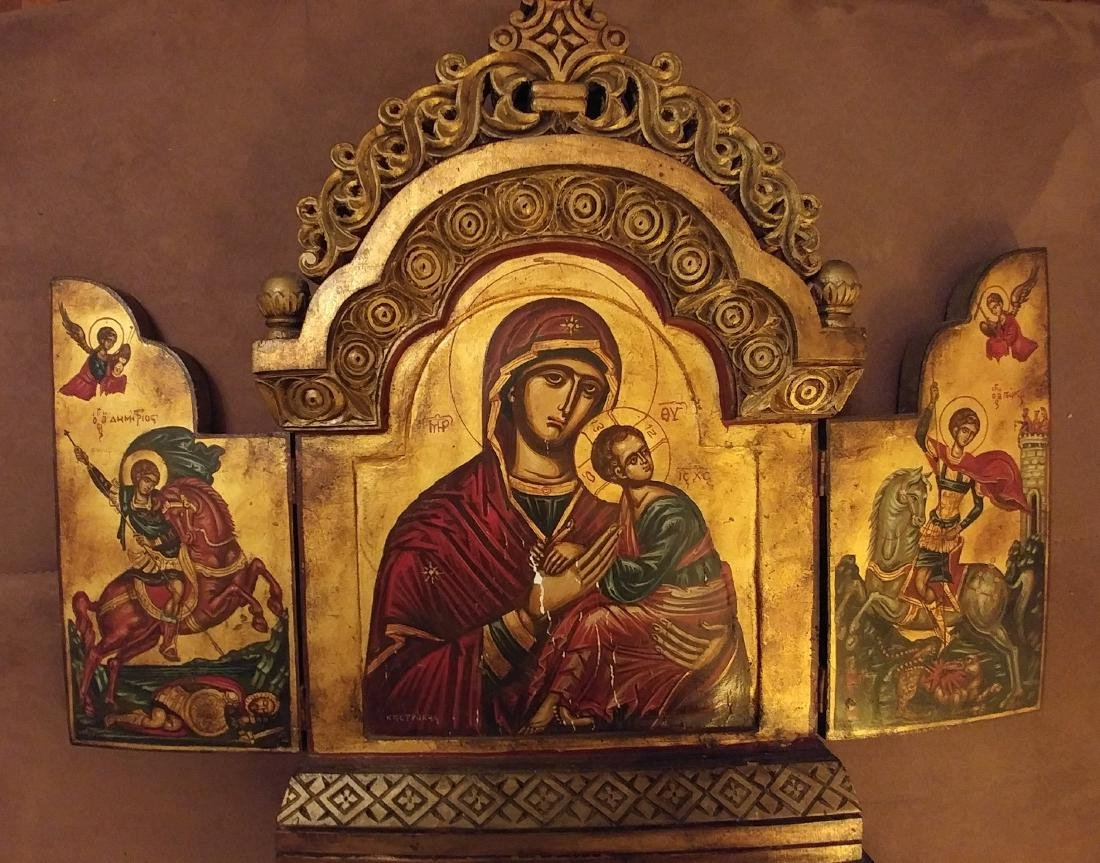 Mother of God & Saints Large Greek Icon Triptych