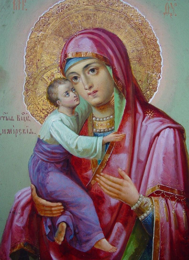 Virgin of Vladimir Russian Icon, 19th C - 2