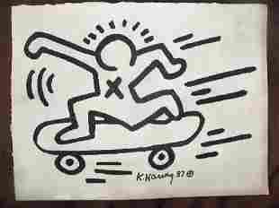 Keith Haring: Man On Skateboard - Signed