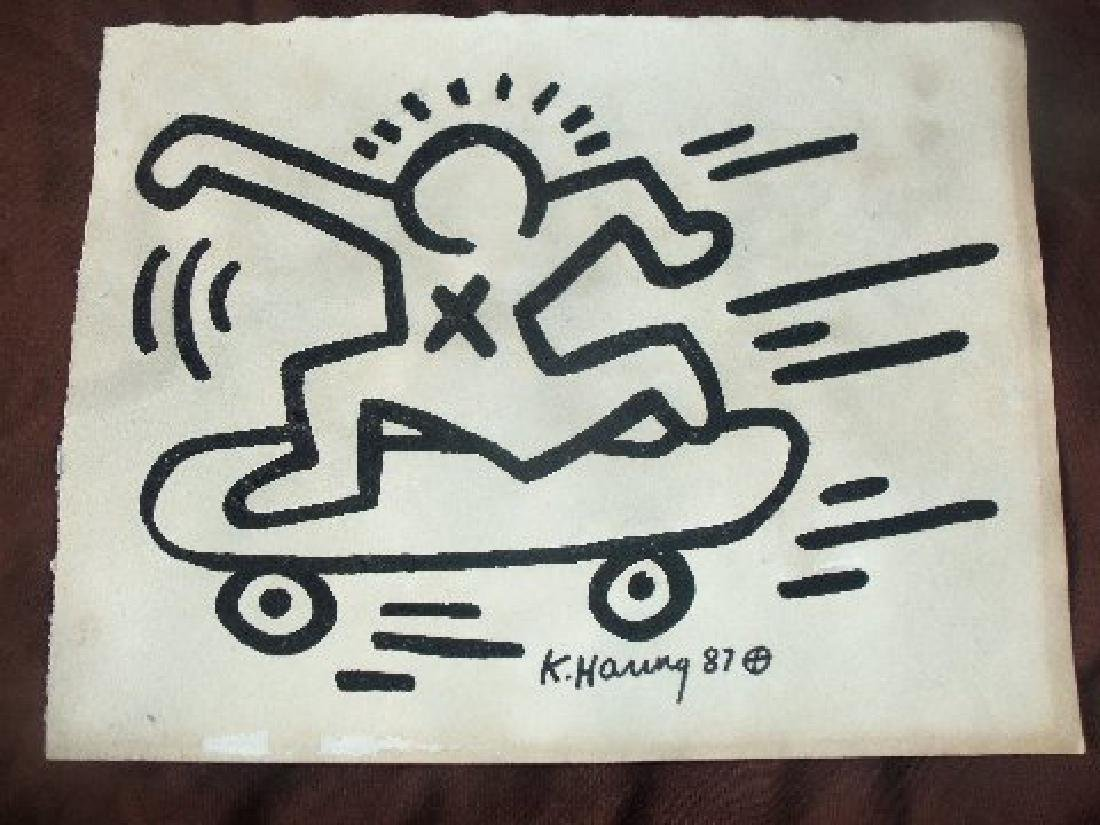 Keith Haring: Man On Skateboard - Signed - 2