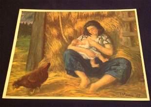 "Waldo Peirce Lithograph ""Breakfast In The Barn"" 1939"