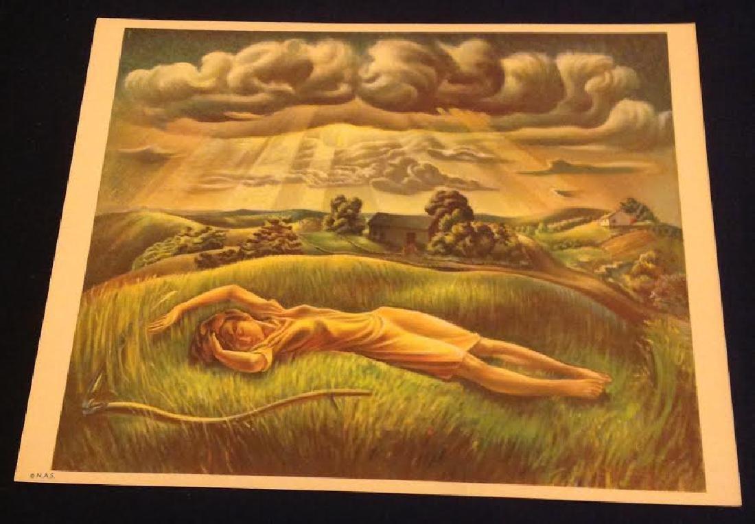 "John S. De Martelly Lithograph ""No More Mowing"" 1939"