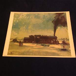 "Vintage Lithograph Karl Mattern""All Steamed Up"" 1939"