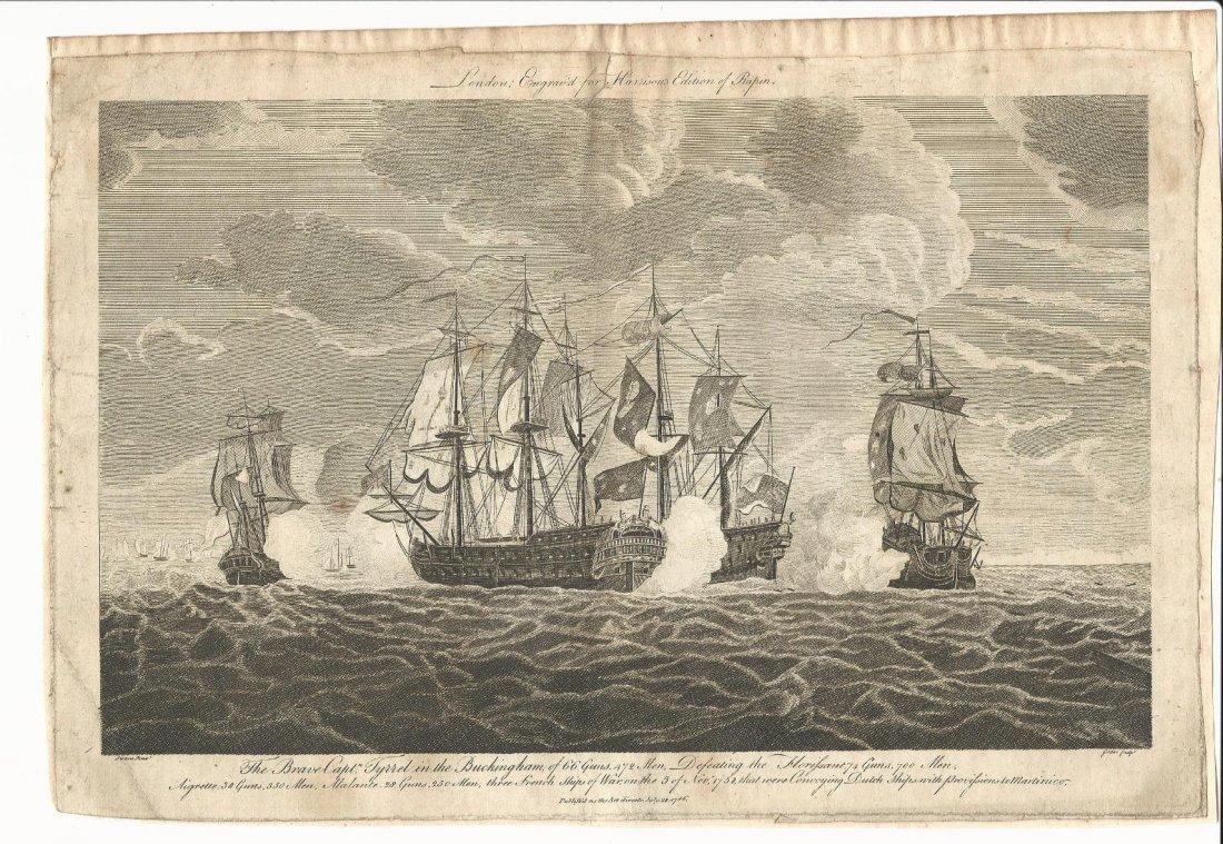 1786 Engraving Harrison's Rapin of Naval Battle
