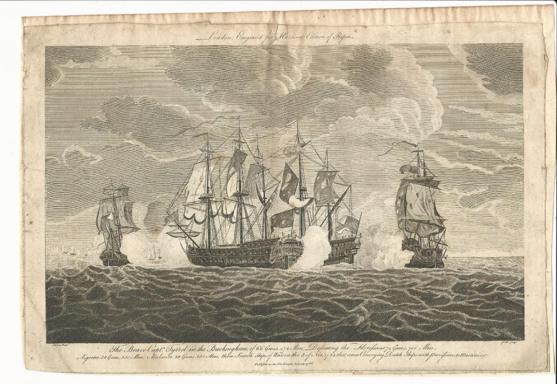 1786 Engraving Harrison's Rapin of Naval Battle
