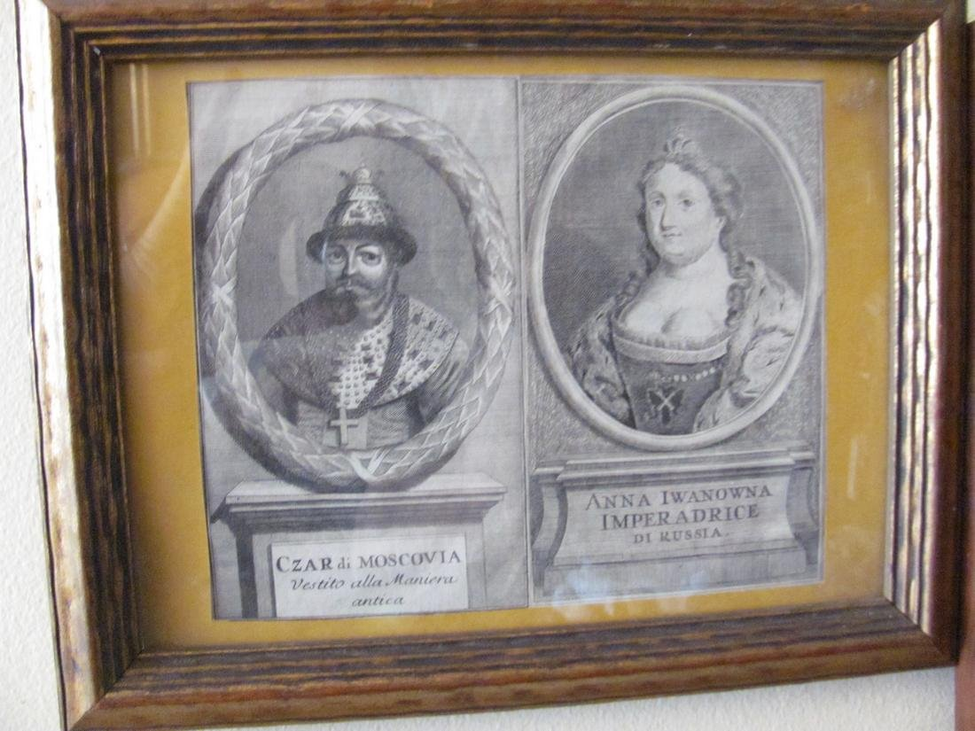 Engraving On Paper Russian Tzar & His Wife