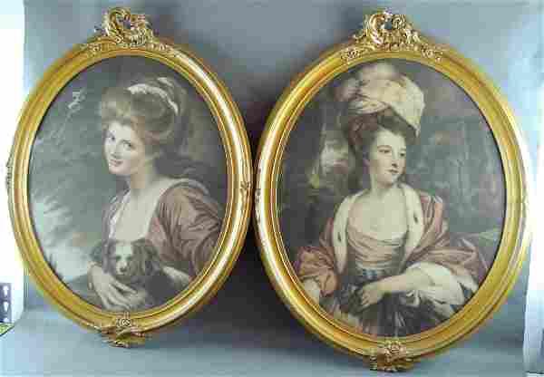 Victorian Woman Portrait Colored Lithograph – Pair