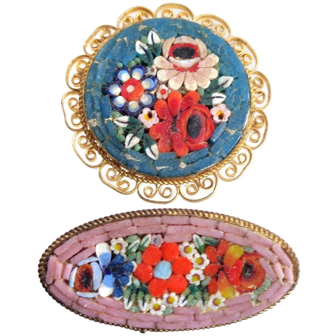 Venetian Micro Mosaic Gold Filigree Art Glass Pins