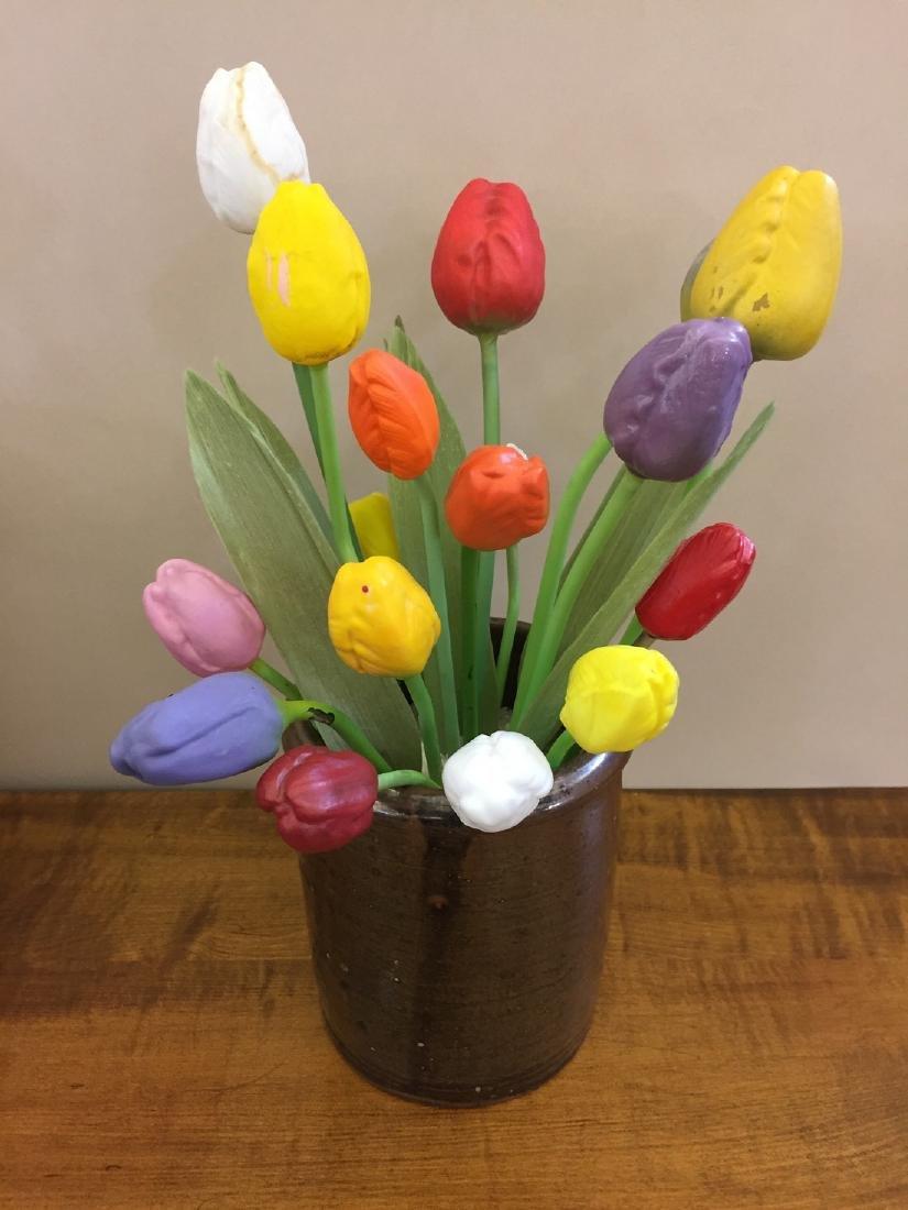 Arrangement of German Hand Blown Glass Tulips