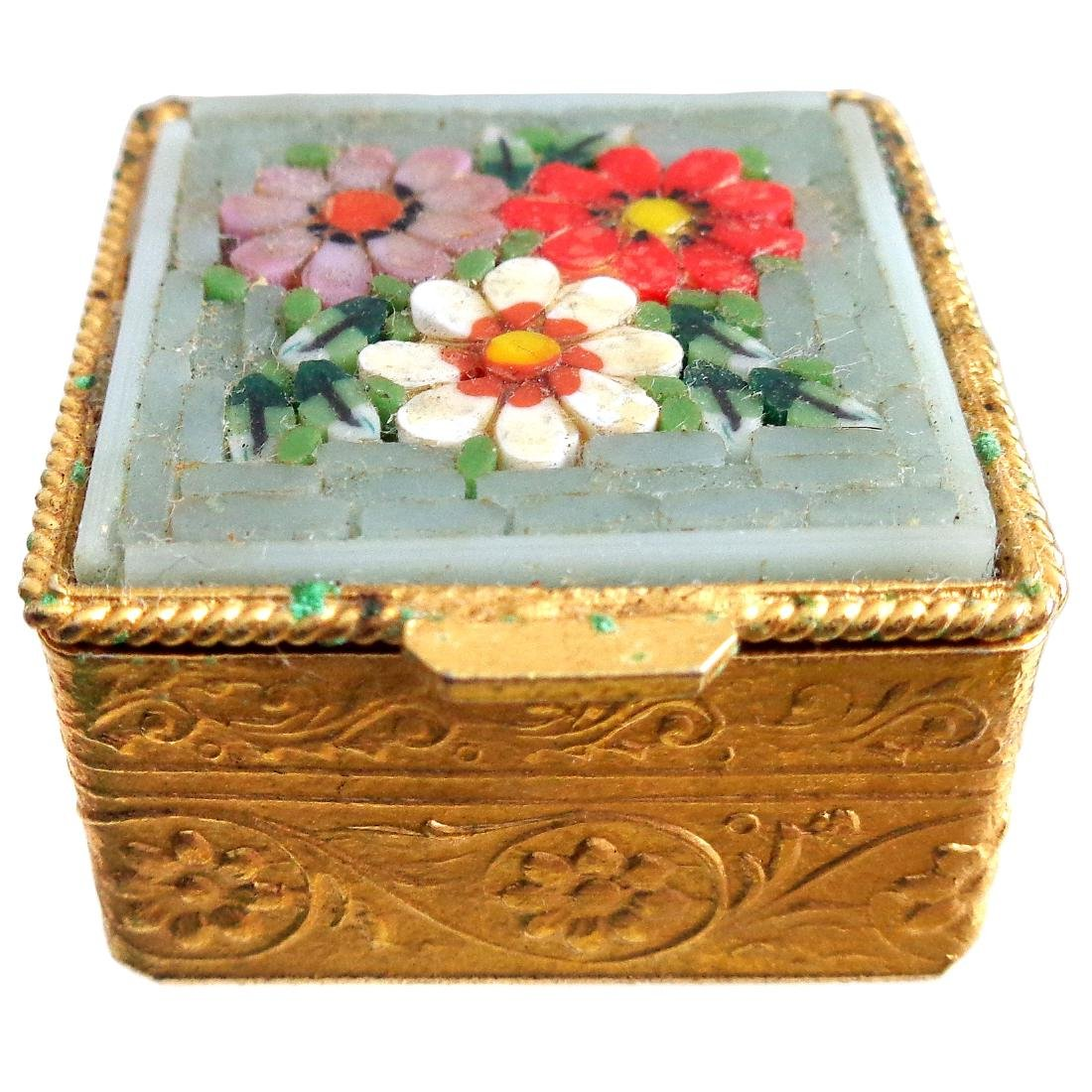 Venetian Micro Mosaic Gold Art Glass Pill Box