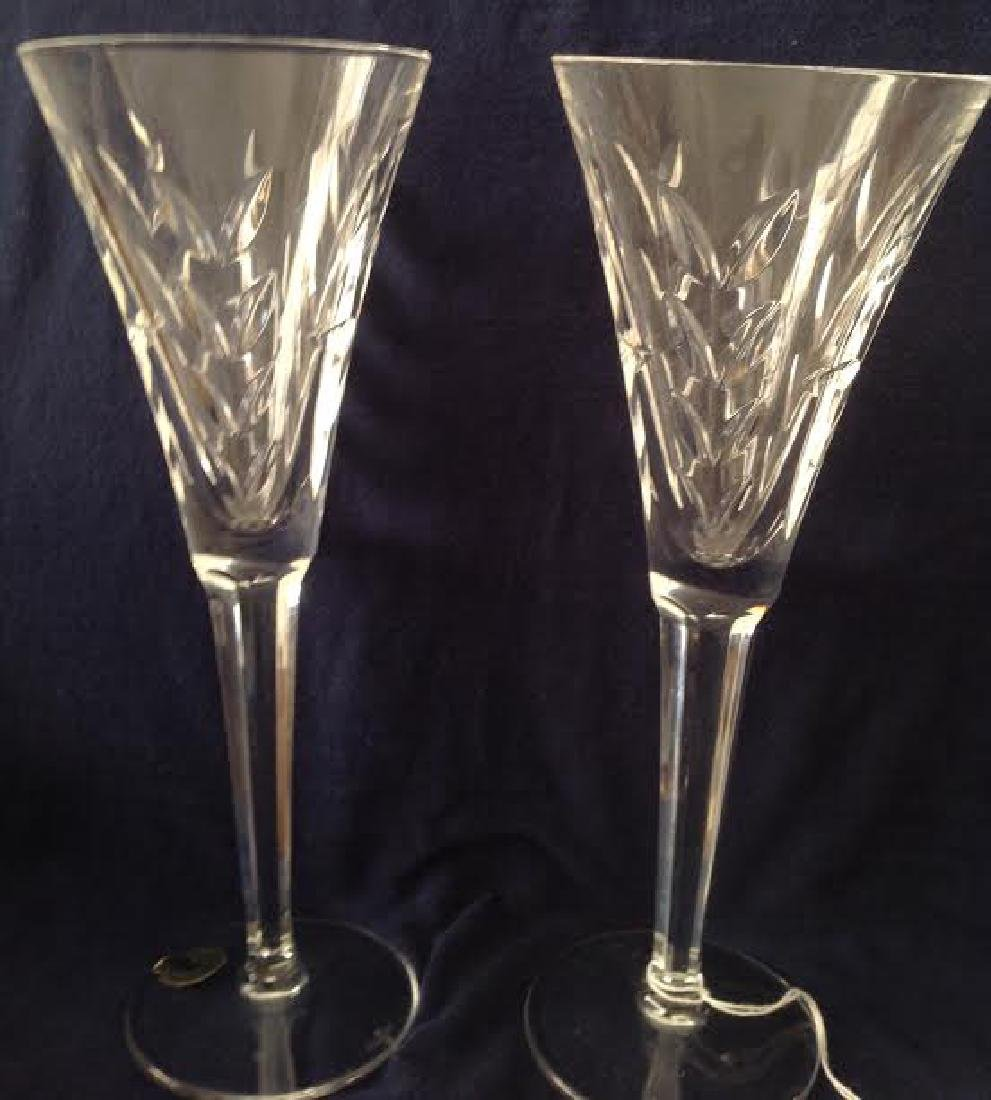 2 Classic Waterford Crystal Toast Flutes