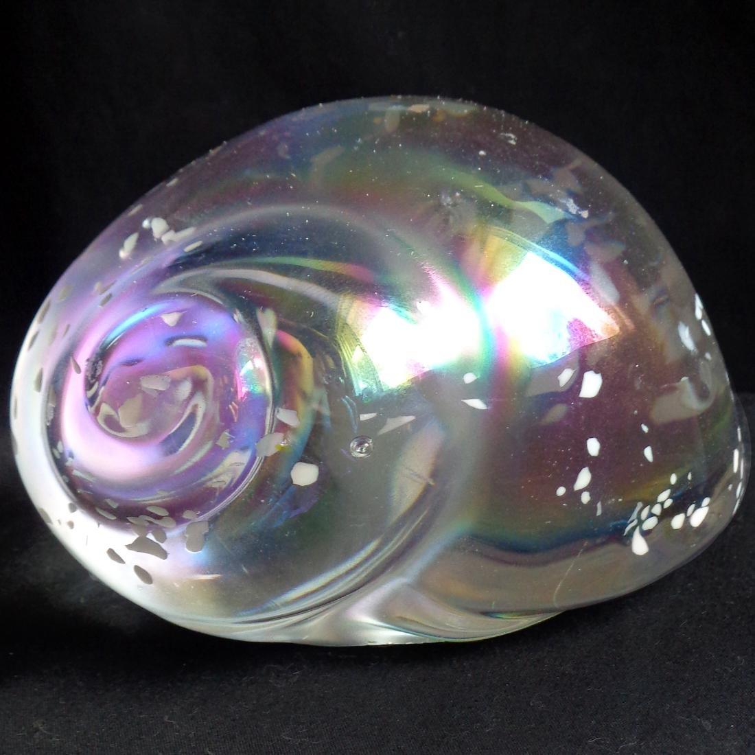 Iridescent Art Glass Conch Shell Paperweight