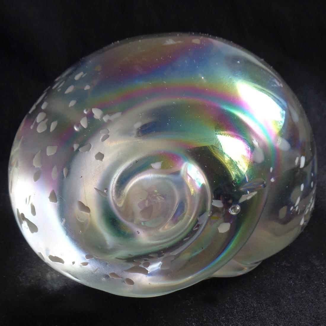 Iridescent Art Glass Conch Shell Paperweight - 2