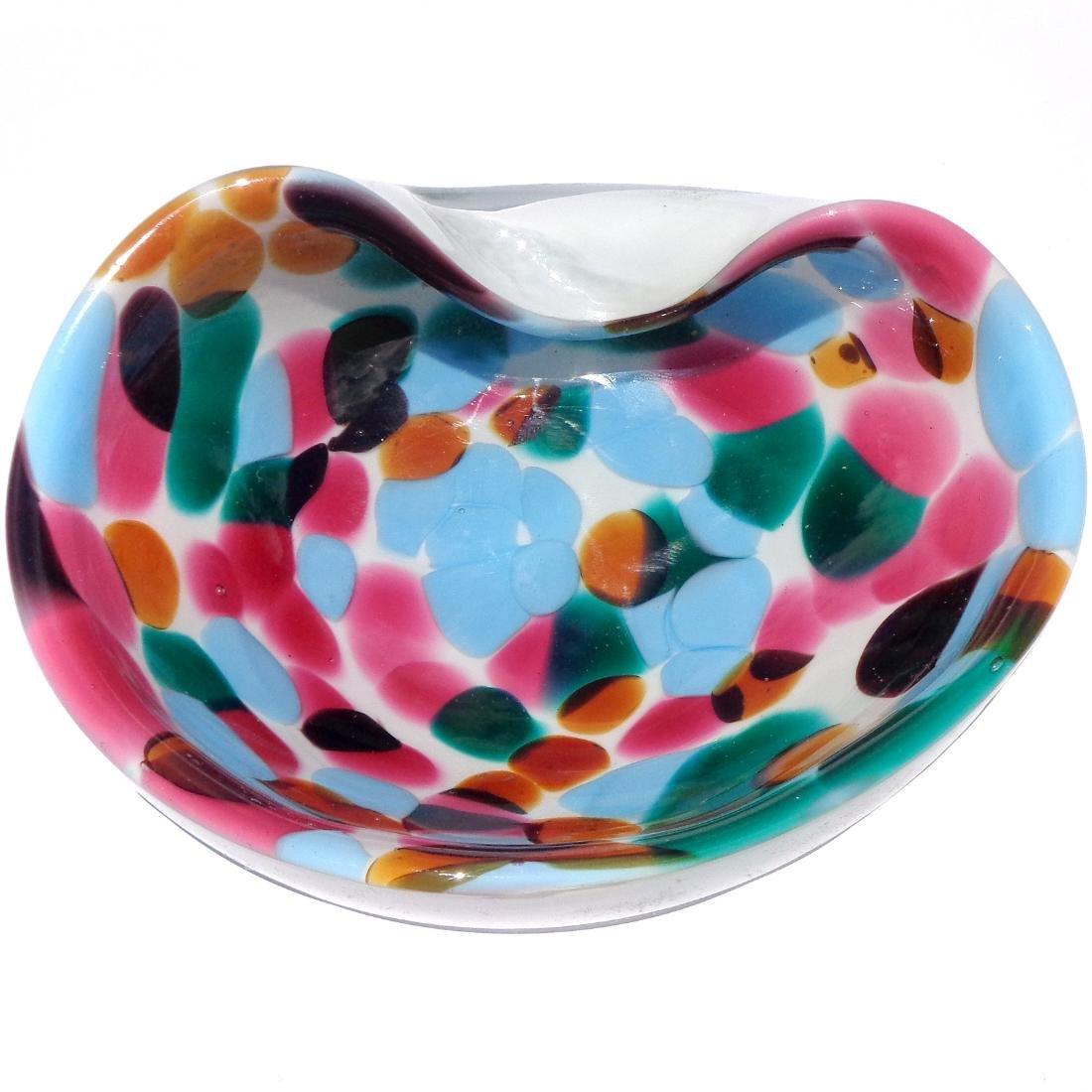 Murano Colorful Spots Italian Art Glass Bowl