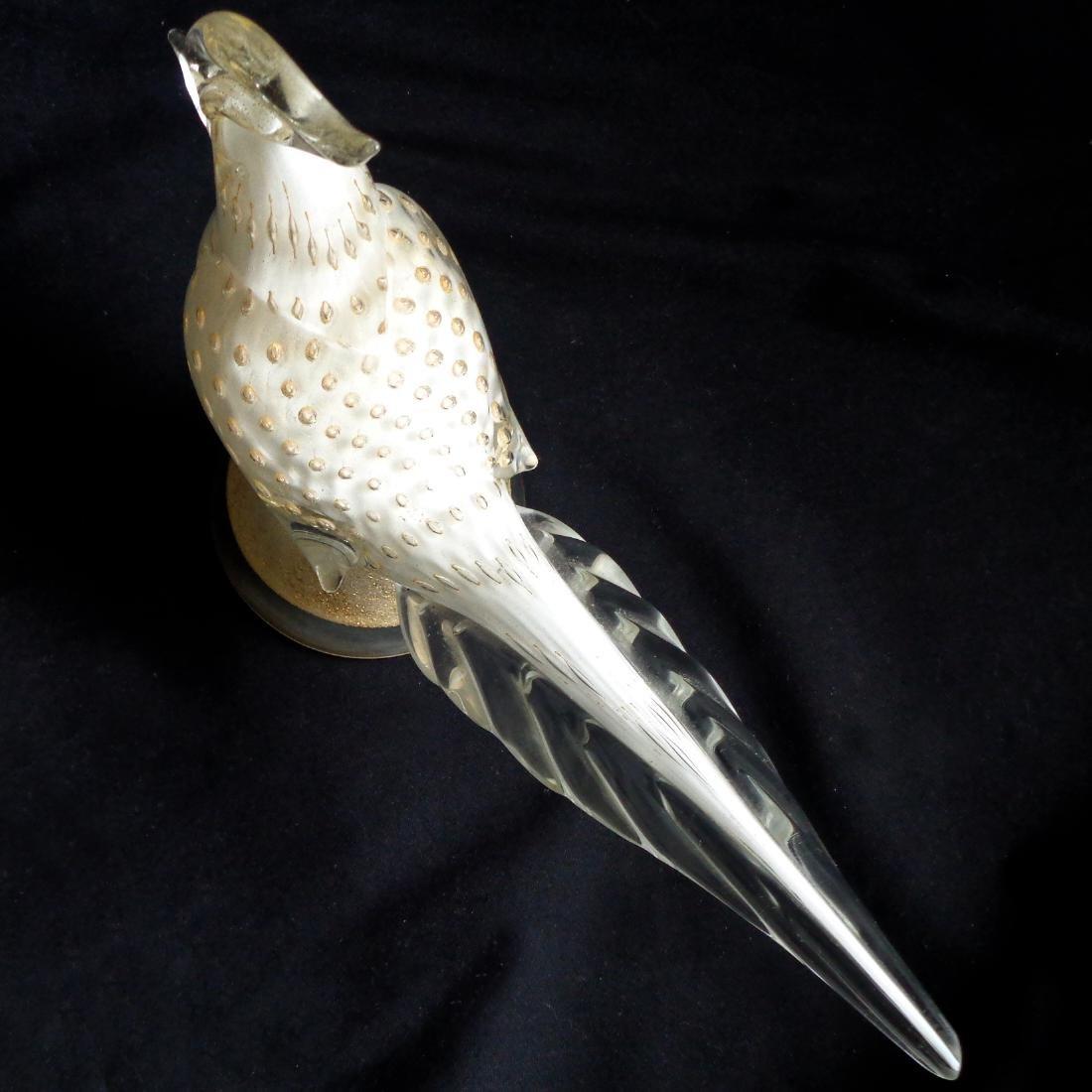 Barbini Murano White Gold Flecks Bird Sculpture - 3