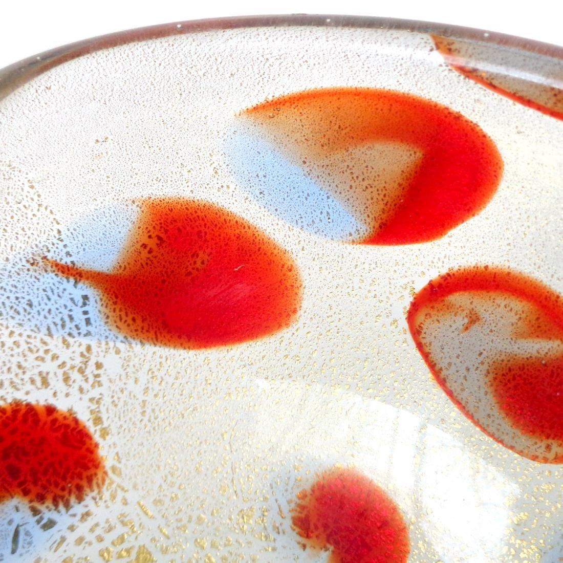 Murano Gold Flecks Red Blue Spots Art Glass Bowl - 3