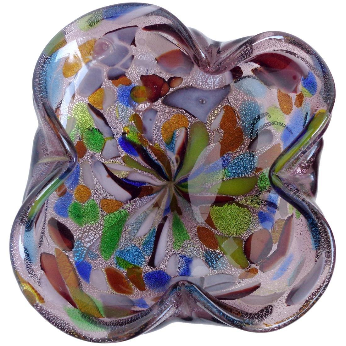 Murano Colorful Confetti Silver Flecks Art Glass Bowl