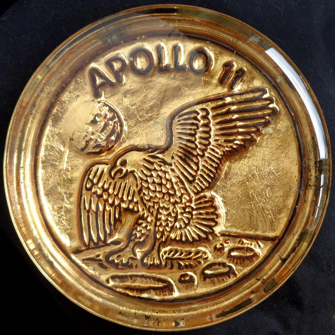 Venetian Gold Leaf Apollo 11 Glass Paperweight