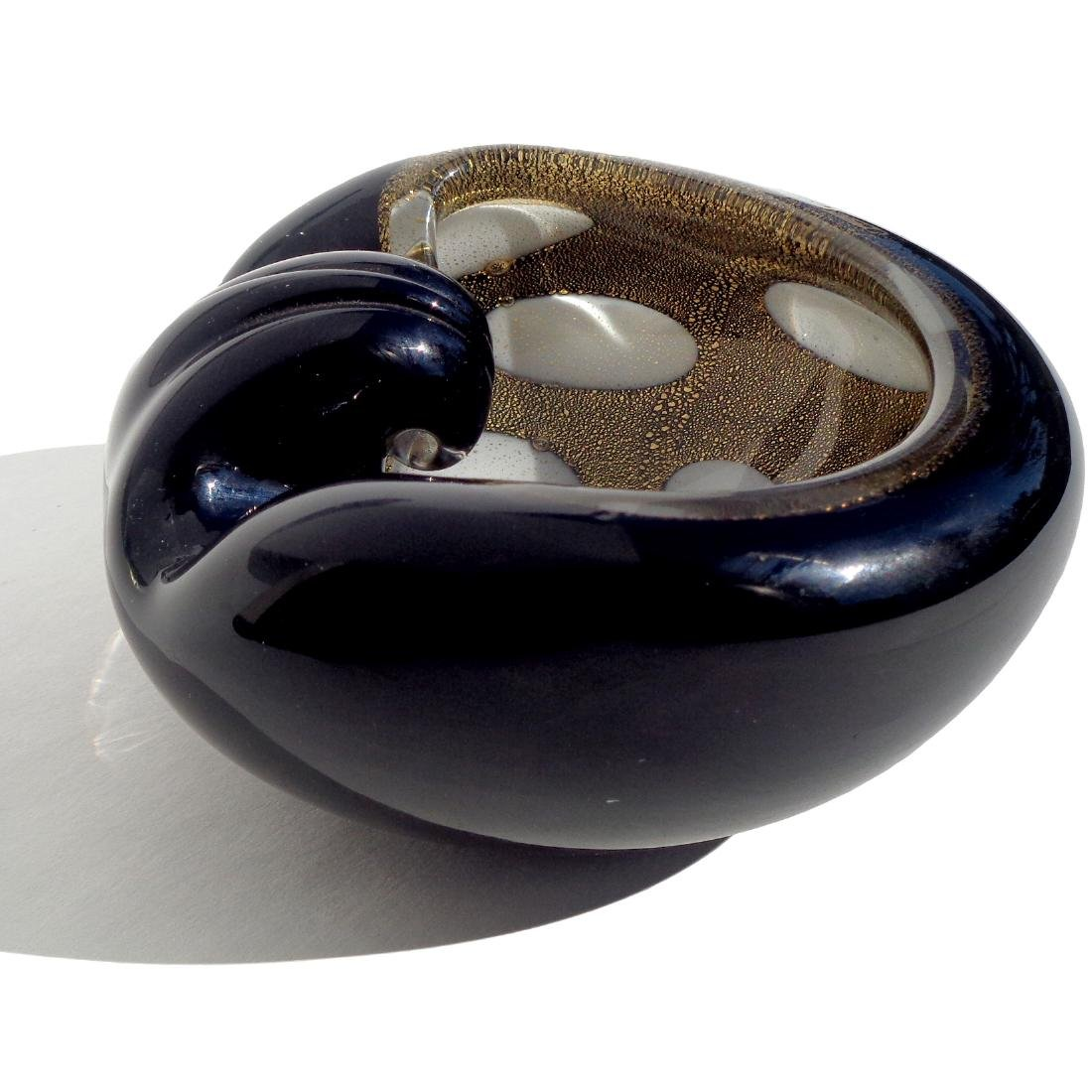 Barbini Black Gold White Spots Art Glass Ashtray - 2