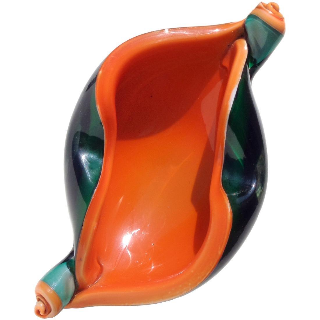 Fratelli Toso Green & Orange Art Glass Scroll Bowl