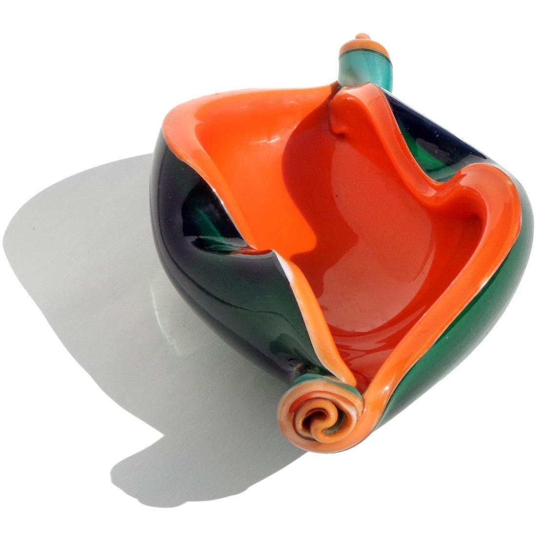 Fratelli Toso Green & Orange Art Glass Scroll Bowl - 2