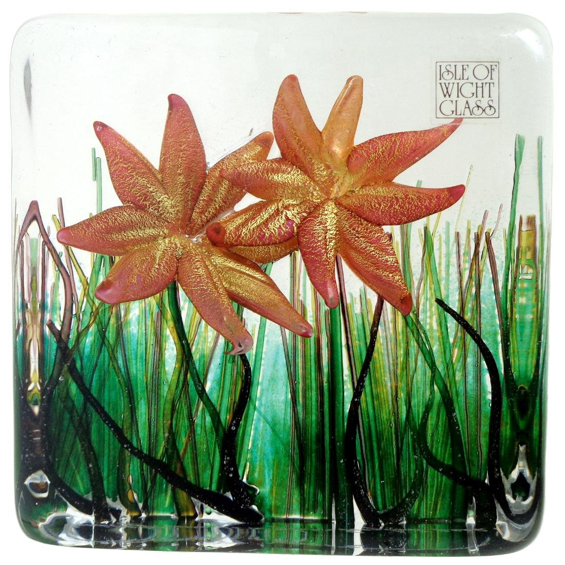 Isle Of Wight Art Glass Spring Flowers Paperweight
