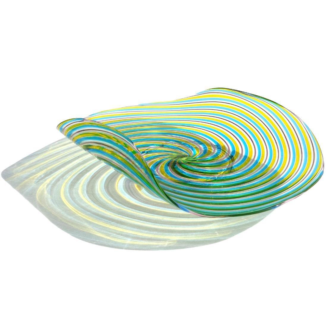 Pauly Venezia Murano Swirl Ribbons Art Glass Bowl