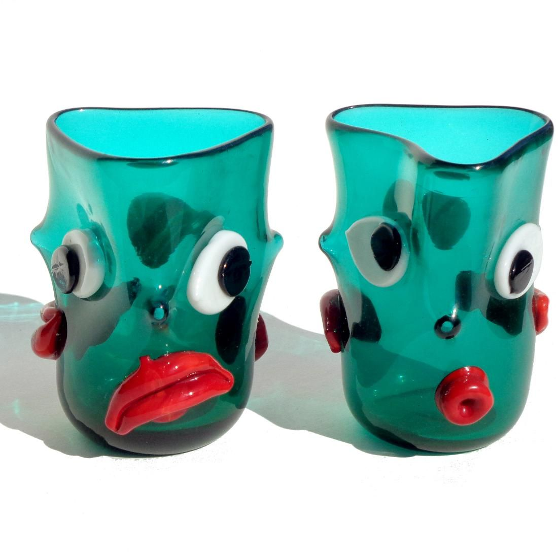 Fuga Murano Mood Face Art Glass Drinking Glasses