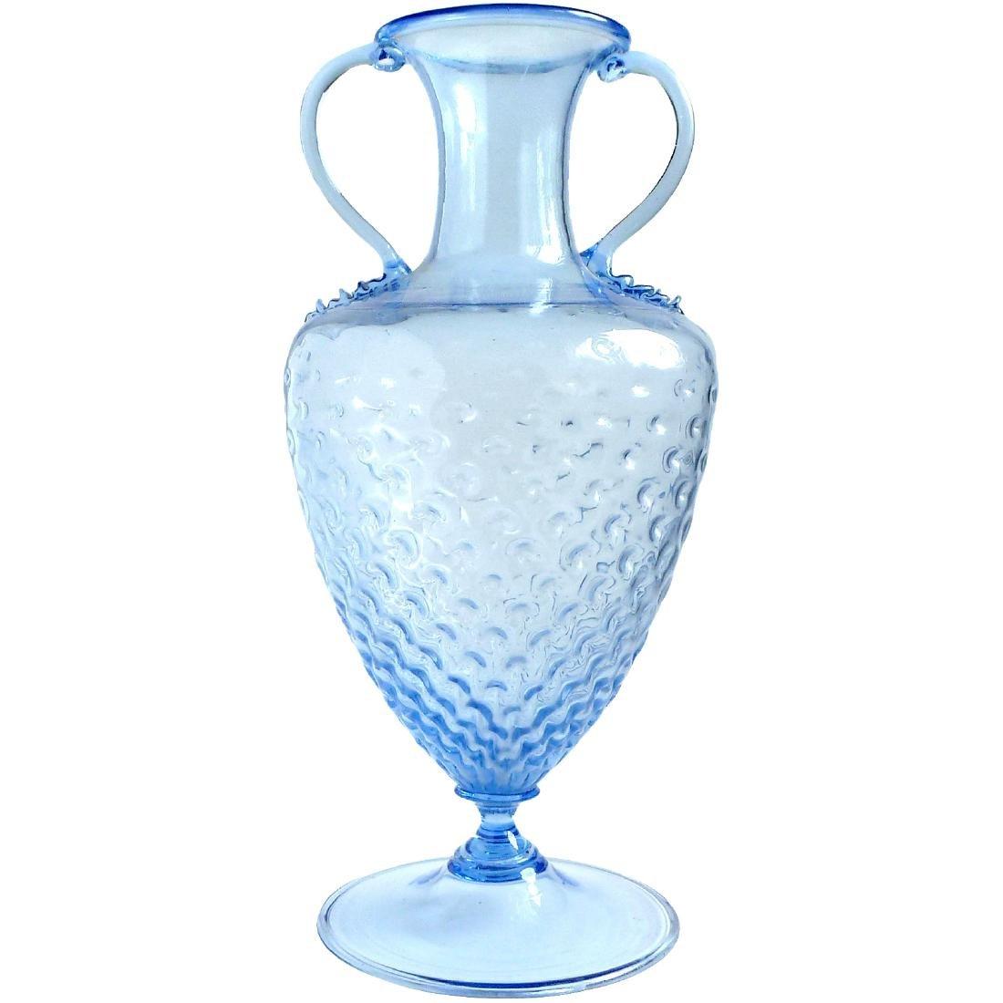 Vittorio Zecchin Capellin Venini Murano Blue Glass Vase