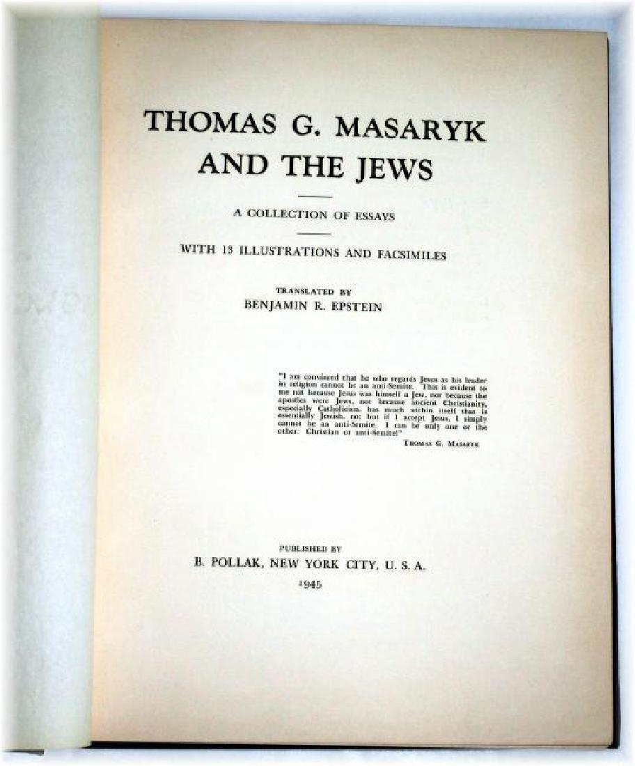 Thomas G. Masaryk and The Jews. Ltd Ed. 1945 - 2