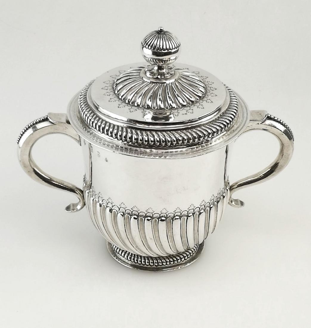 Antique John Smith Silver Porringer / Cup & Cover 1699