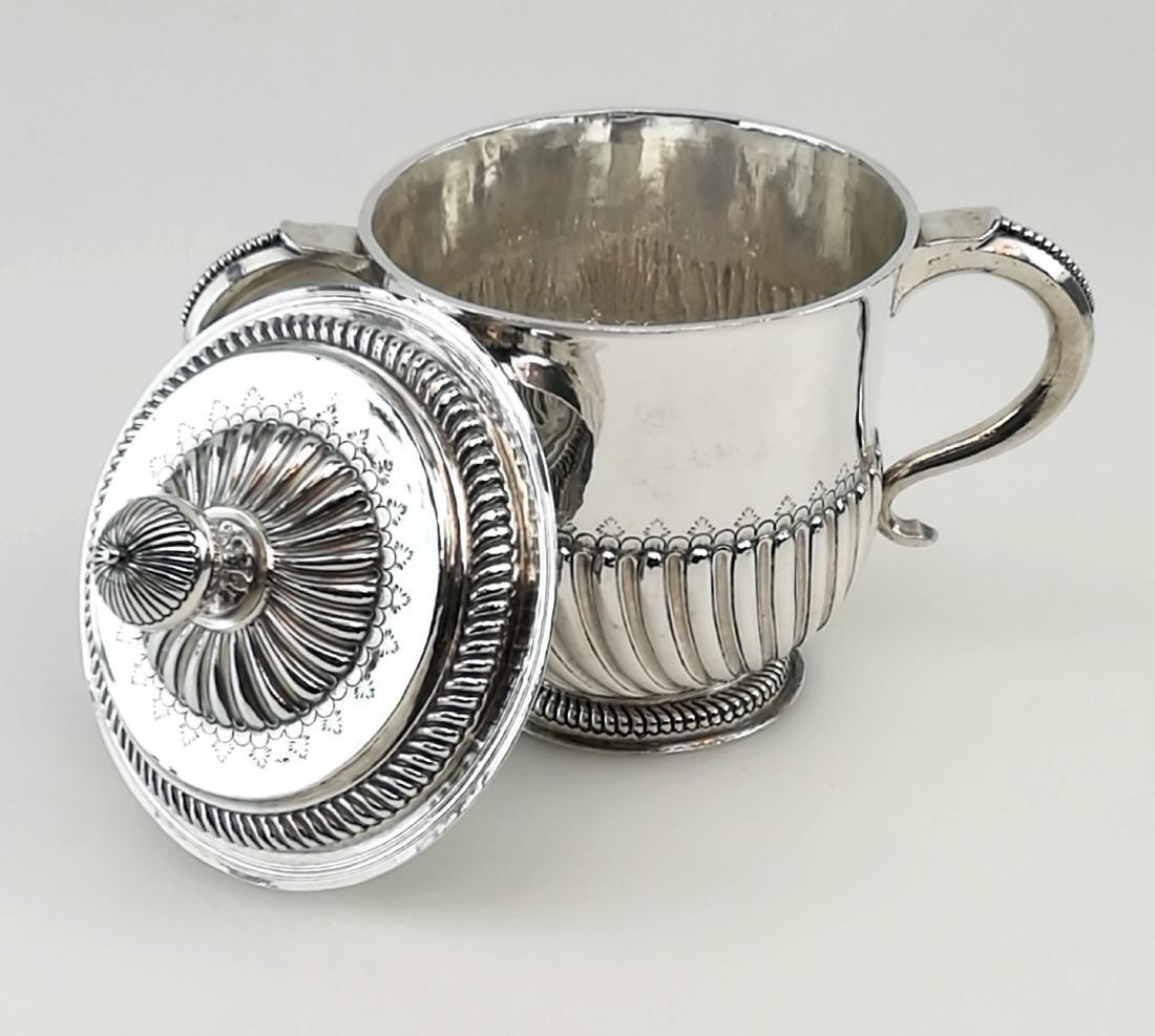 Antique John Smith Silver Porringer / Cup & Cover 1699 - 3