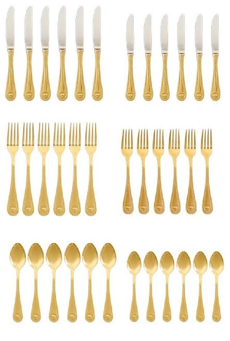 Set of 36 Rosenthal Meets Versace Medusa Gold Flatware - 2