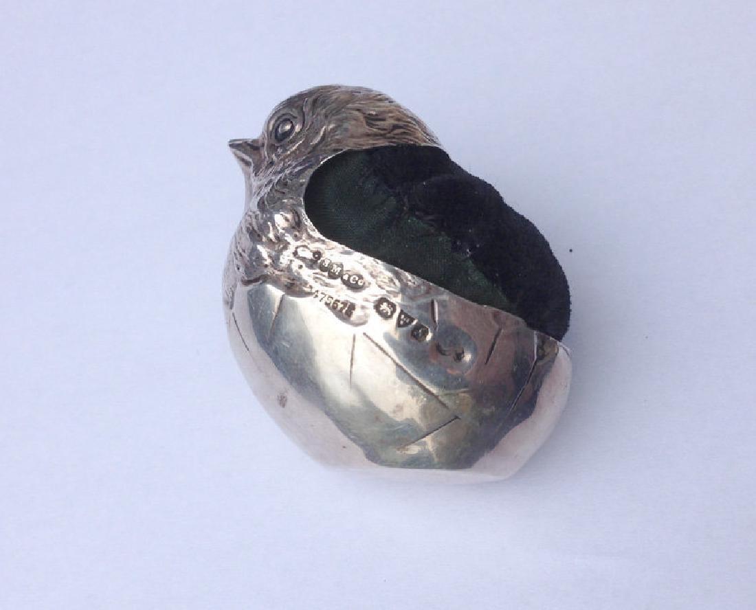 Sampson Mordan Silver Pin Cushion: Hatching Chicken - 4