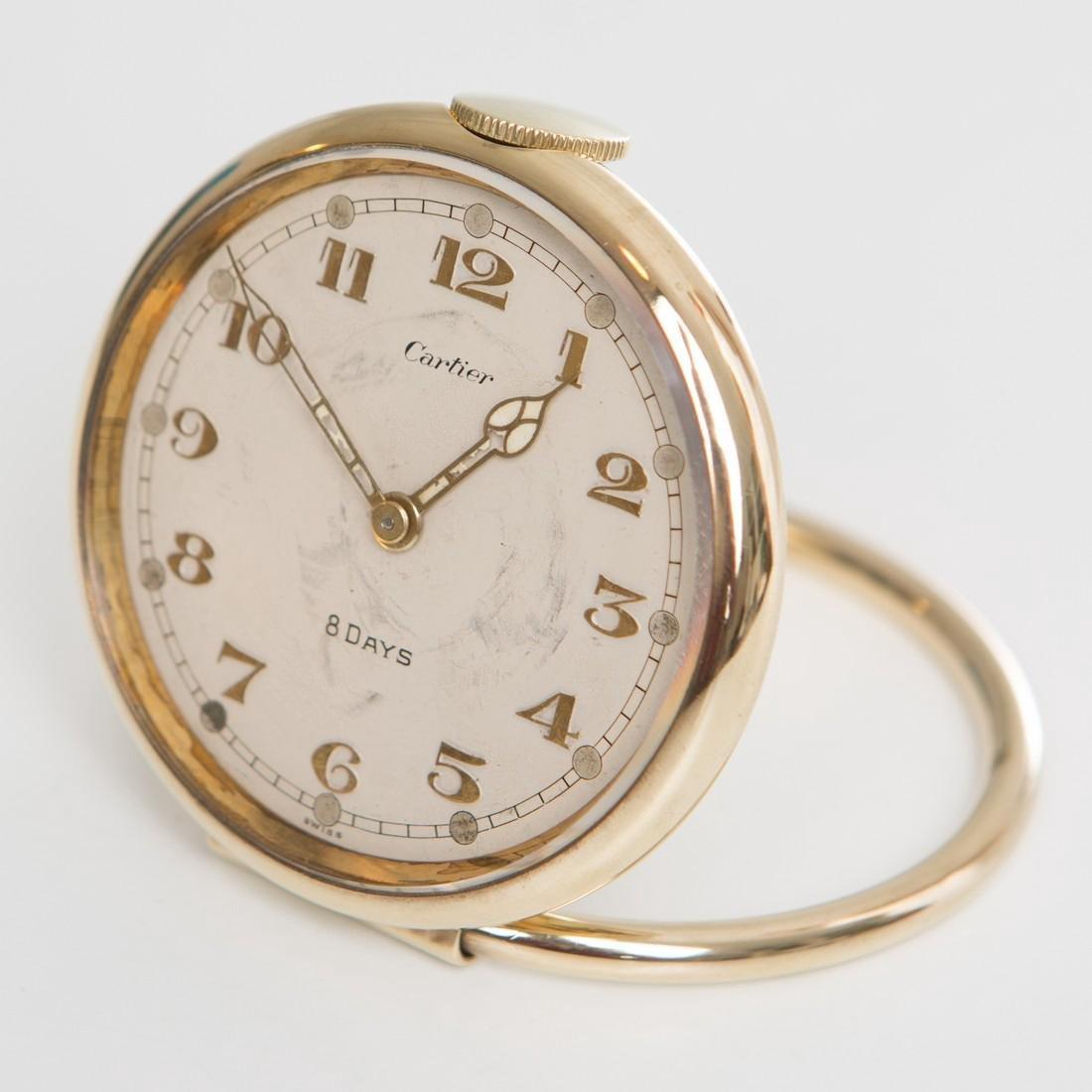 Cartier Swiss 8 Day 10K Gold Filled Travel Desk Clock