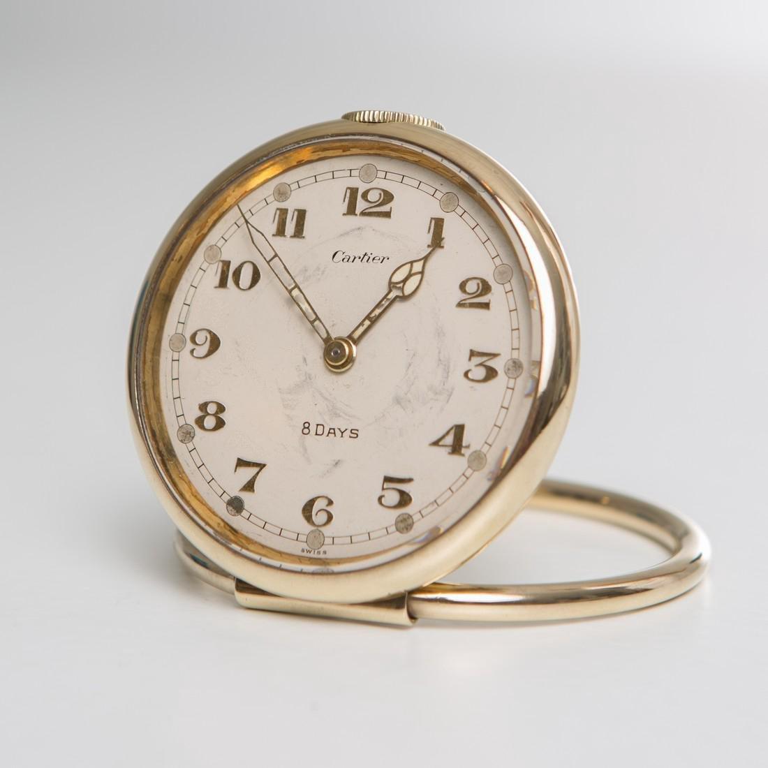 Cartier Swiss 8 Day 10K Gold Filled Travel Desk Clock - 2