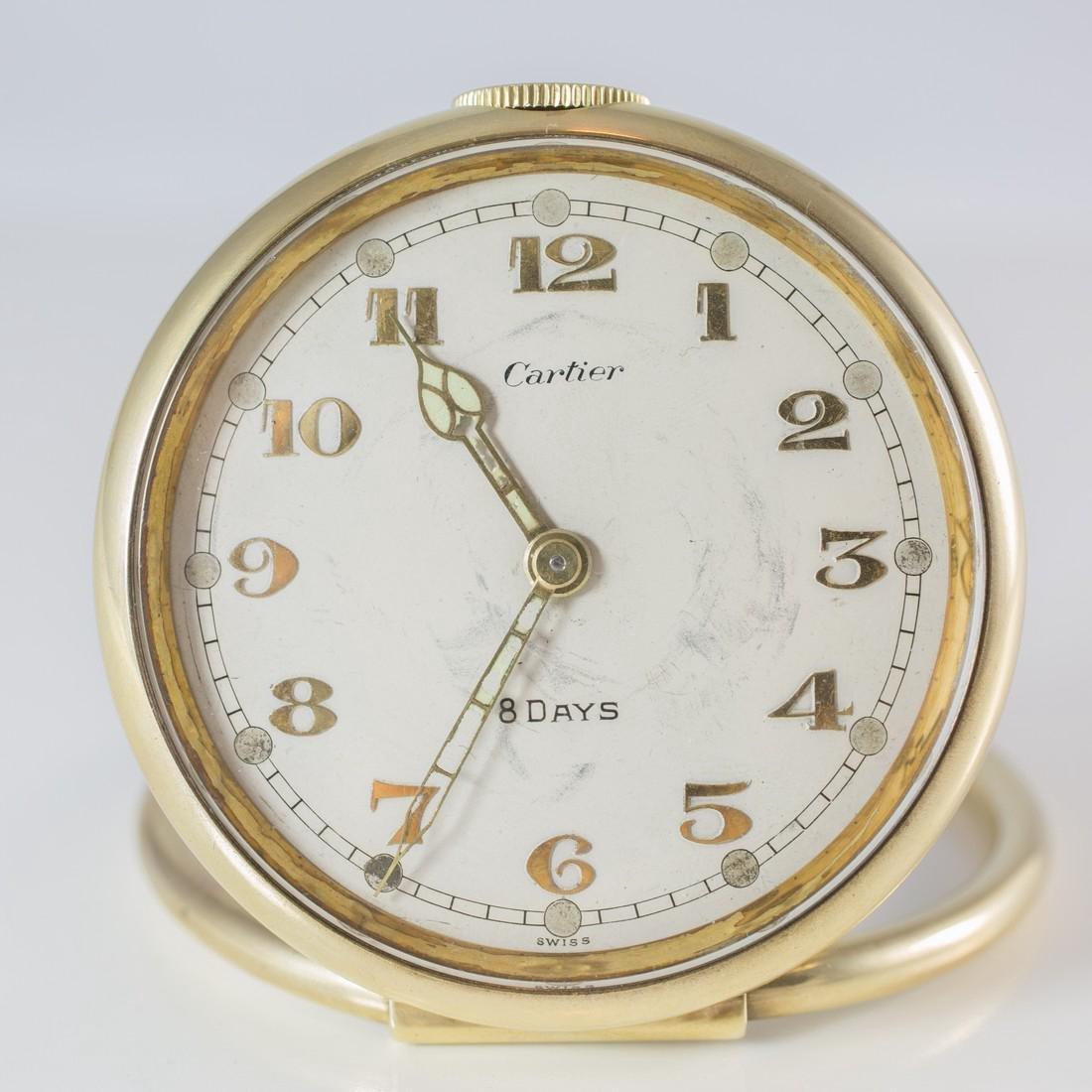Cartier Swiss 8 Day 10K Gold Filled Travel Desk Clock - 3