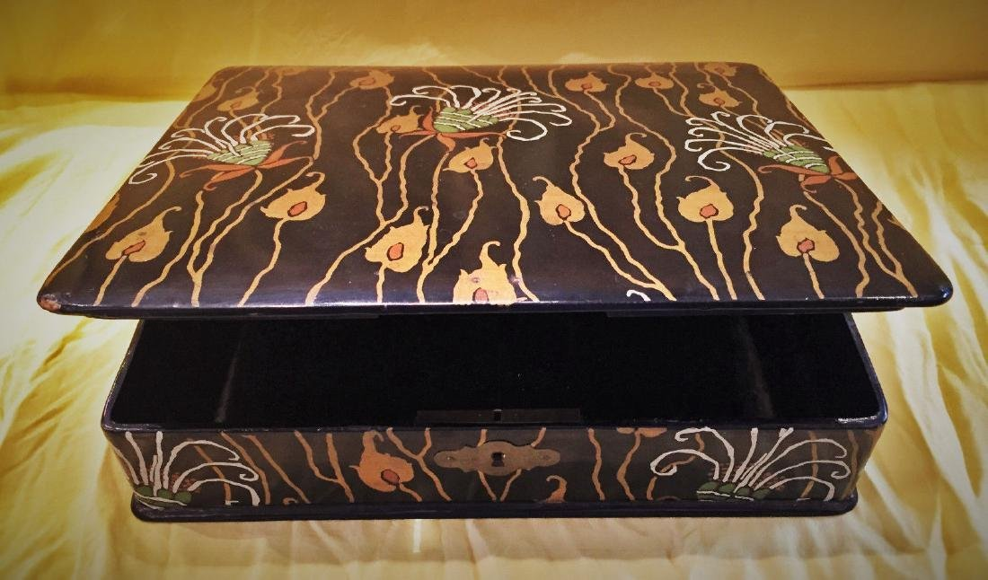 French Art Deco Hand-Painted Wooden Lacquer Box