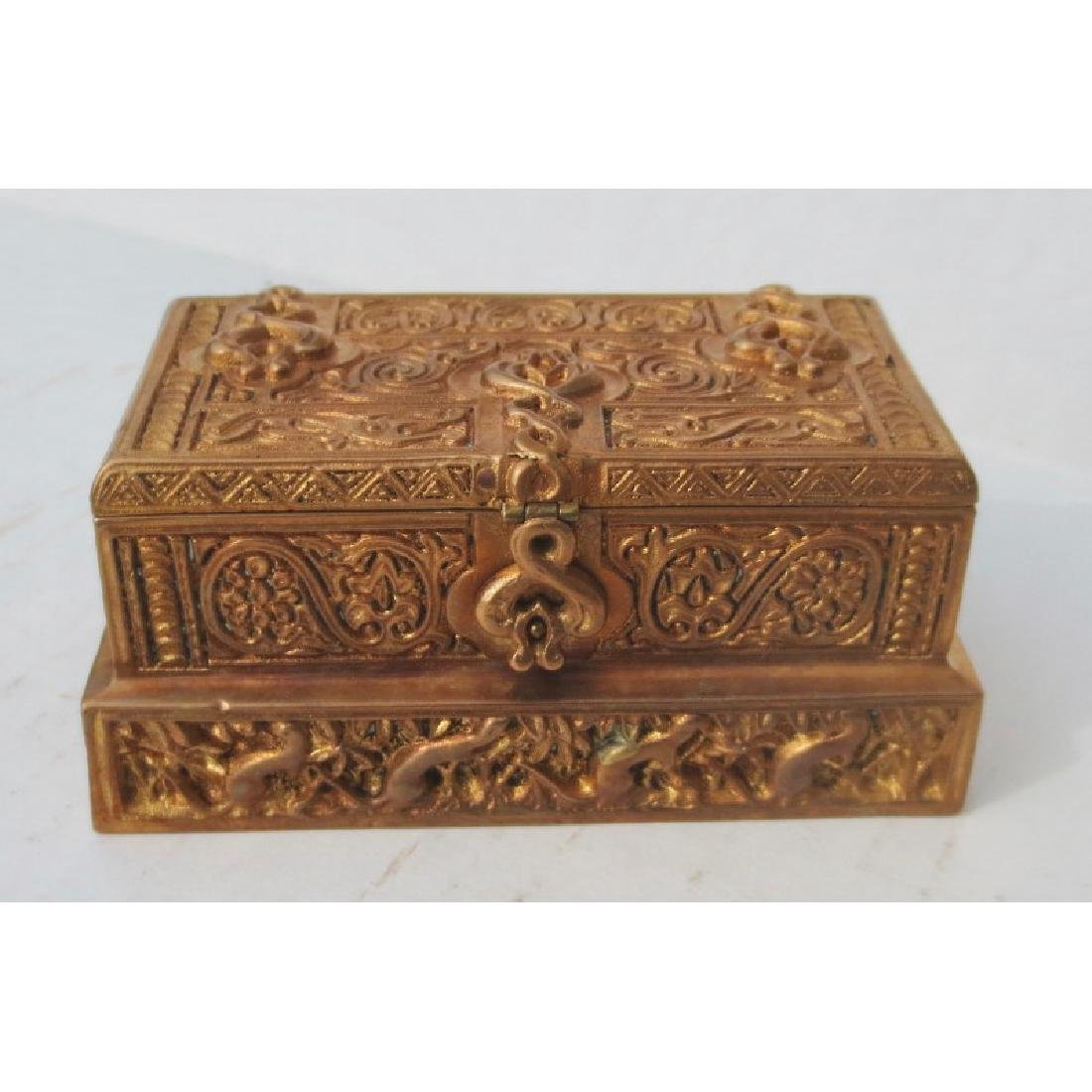 Tiffany Gilt Bronze Stamp Box Venetian Pattern