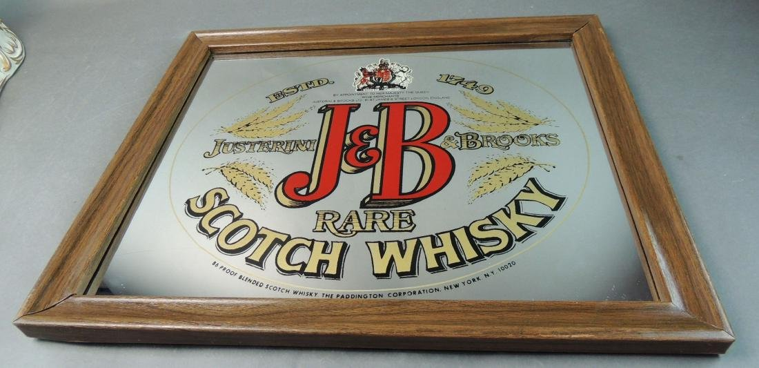 J&B Rare Scotch Whiskey Mirror Bar Sign