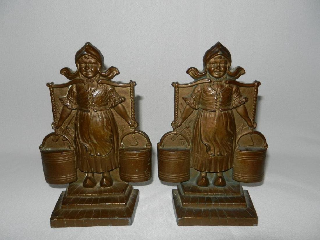 Vintage Pair Cast Bronze Bookends C 1920's