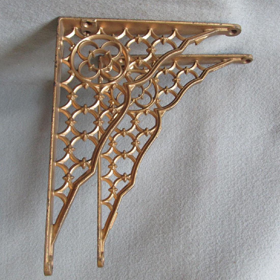 19thC Victorian Gothic Cast Iron Architectural Brackets - 4