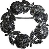 Vintage Circle of Roses Sterling  Marcasite Pin