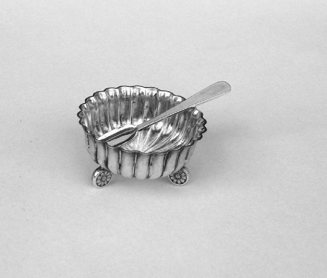 English Silver Plated Bowl & Sterling Spoon, 19th C