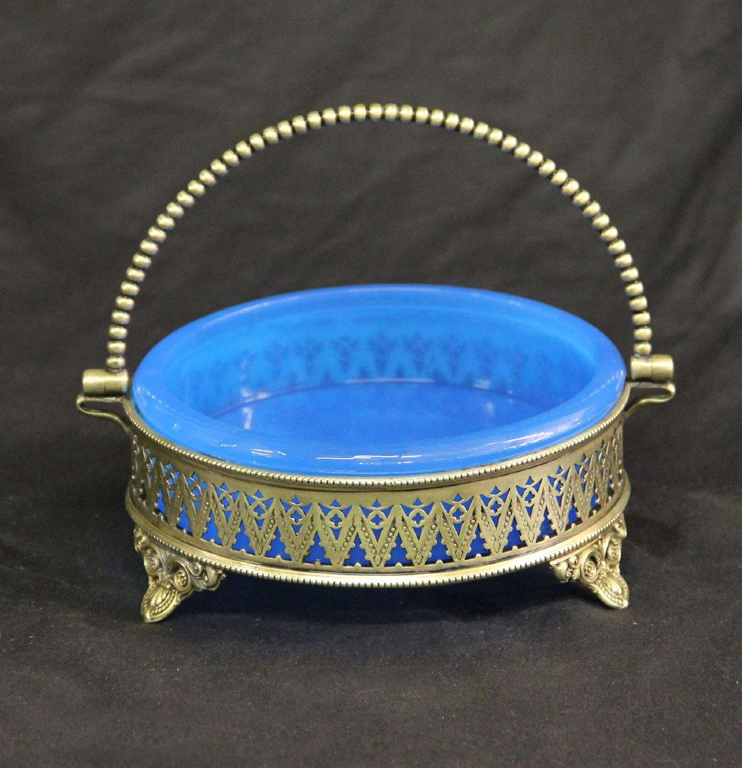Silver Plated & Glass Basket, Early 20th Century
