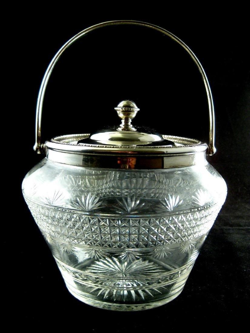 Sheffield English Sterling Crystal Biscuit Box Jar 1909