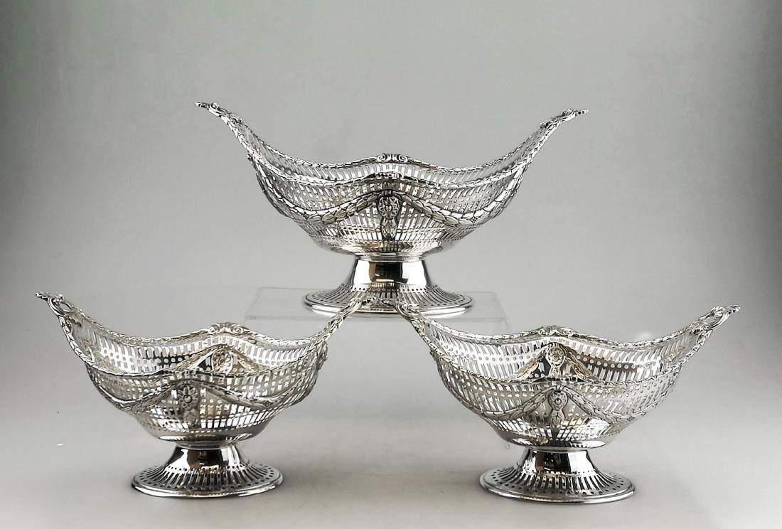 Set of 3 Victorian Antique Silver Fruit Baskets, 1897